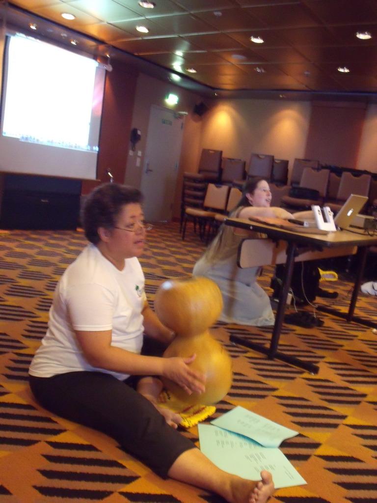 Kumu Amy blessing my ipu heke with her manaʻo and hands as we learn kahiko