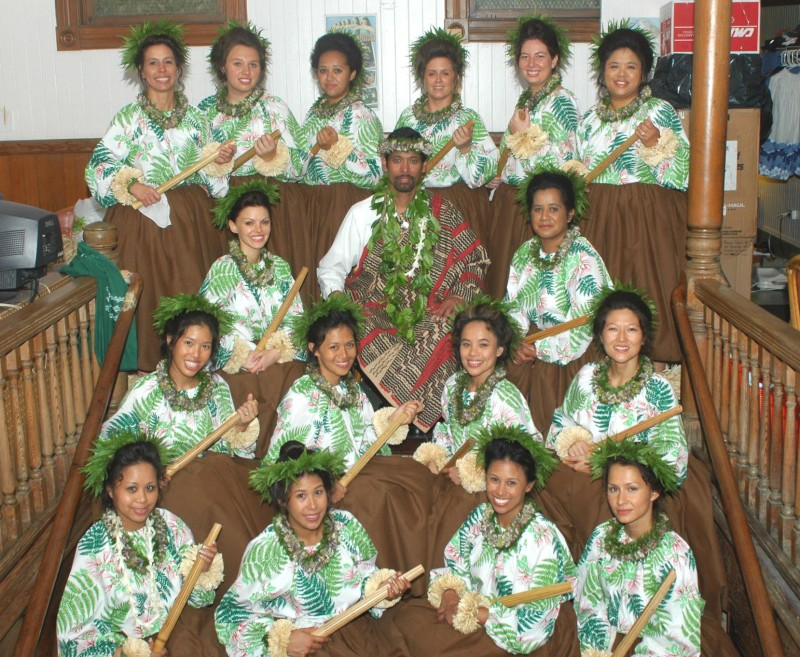Kumu Manu with Halau Ho'ola Ka Mana O Hawai'i at Merrie Monarch Hula Competition 2006