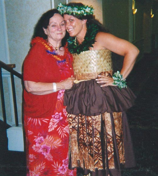 Kumu Manu and mom at E Hula Mau competition